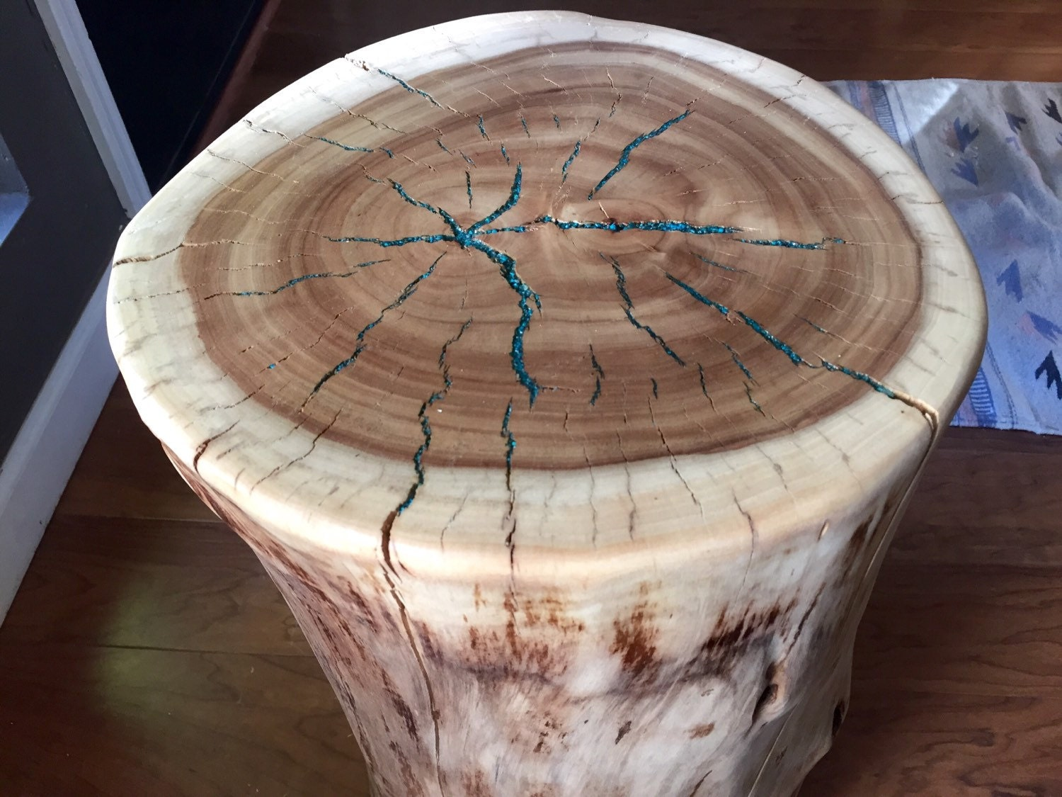 Tree Stump Table With Turquoise Inlay