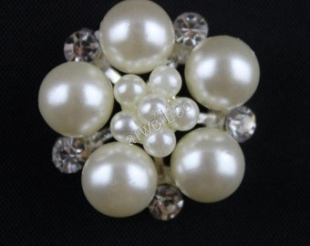 23mm Pearl Rhinestones Buttons ,Diy Hair Accessories Supplies