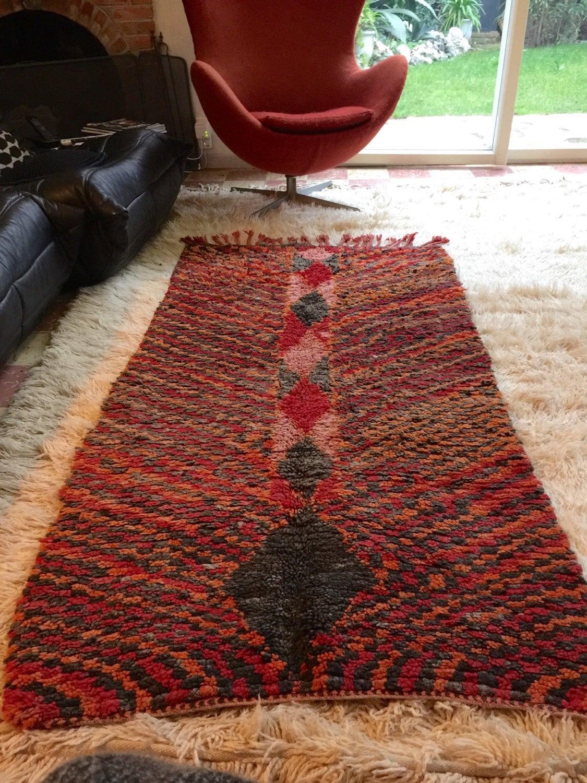 tapis berb re zayane laine orange rouge marron noir taille. Black Bedroom Furniture Sets. Home Design Ideas