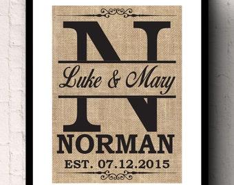 Monogram Custom Wedding and Anniversary Housewarming Gift Burlap Wall Decor