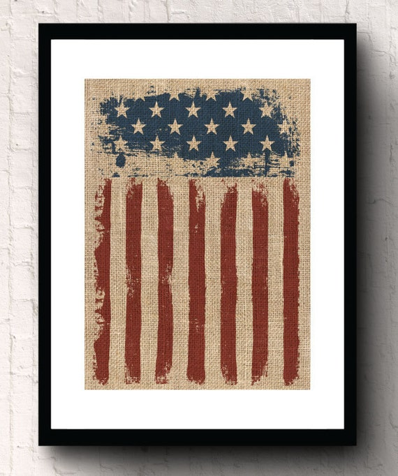 Rustic American Flag Primitive Housewarming Gift Burlap Wall