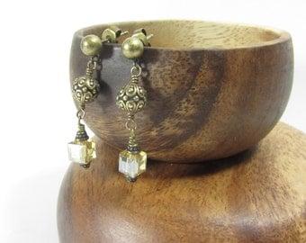 Victorian Style Earrings, Pierced Earrings, Golden, Sparkly, Dangle Earrings, Emma 420