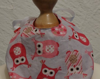 Baby bib with OWL motif - washable