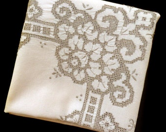 Vintage embroidery beige tablecloth