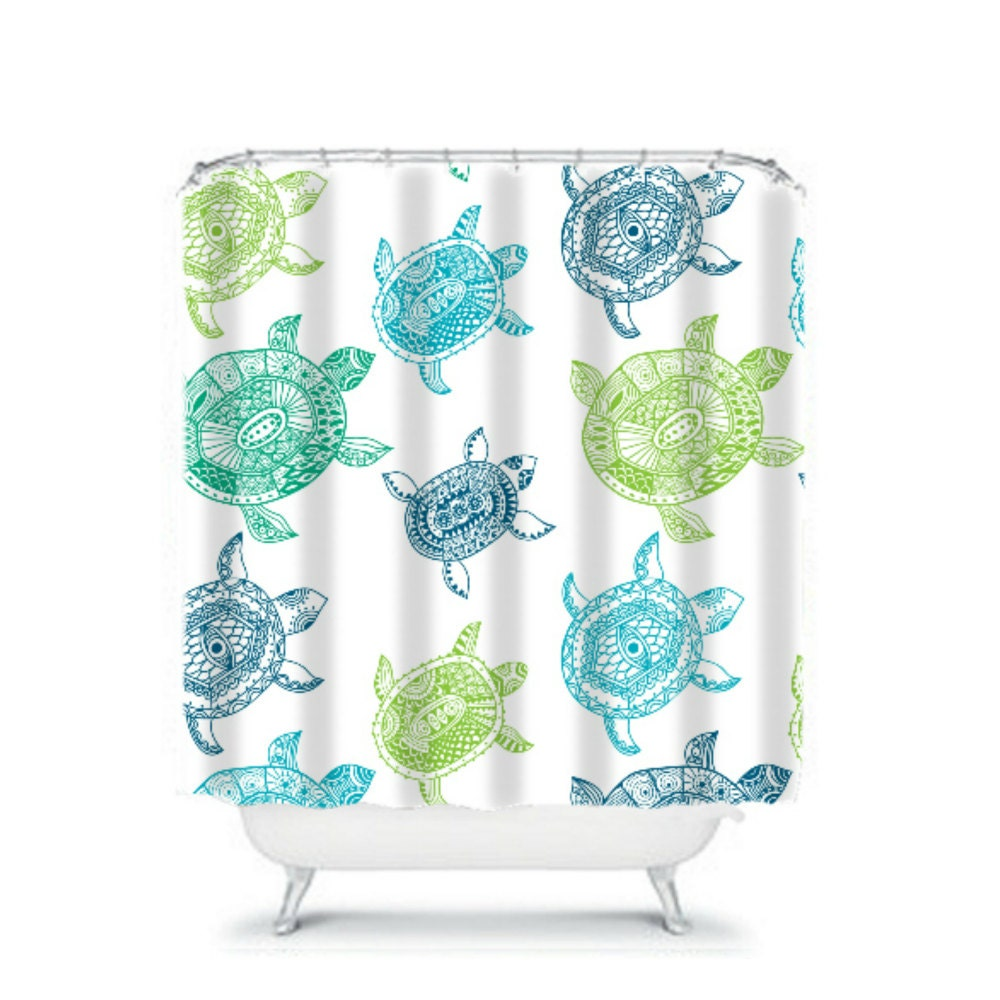 Turtle Shower Curtain Aqua Blue Green By FolkandFunky On Etsy