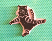Cat rubber stamp - flying cat rubber stamp - hand carved stamp - catlover gift - pet stamp - kitty stamp