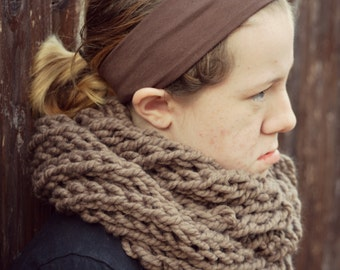 swirled and textured handknit oversized chunky scarf cowl - in taupe brown