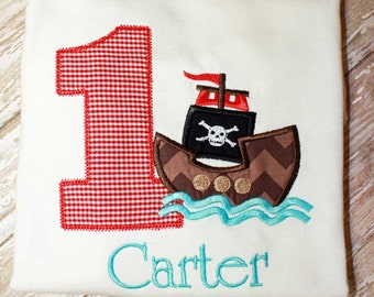 Birthday Pirate Ship Shirt,Boy Birthday Shirt,Applique Boy Birthday Shirt,Pirate Number Shirt,