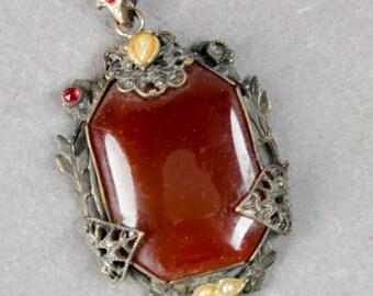 Czech Bohemian faux carnelian pendant drop silvered brass  c. 1935