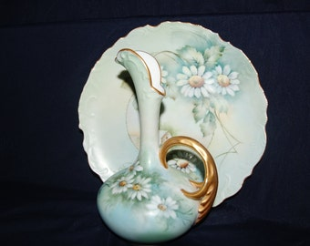 Porcelain Handpainted signed pitcher and underplate daisies on muted colors blue