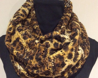 Leopard Lace Infinity Scarf, loop scarf, circle scarf