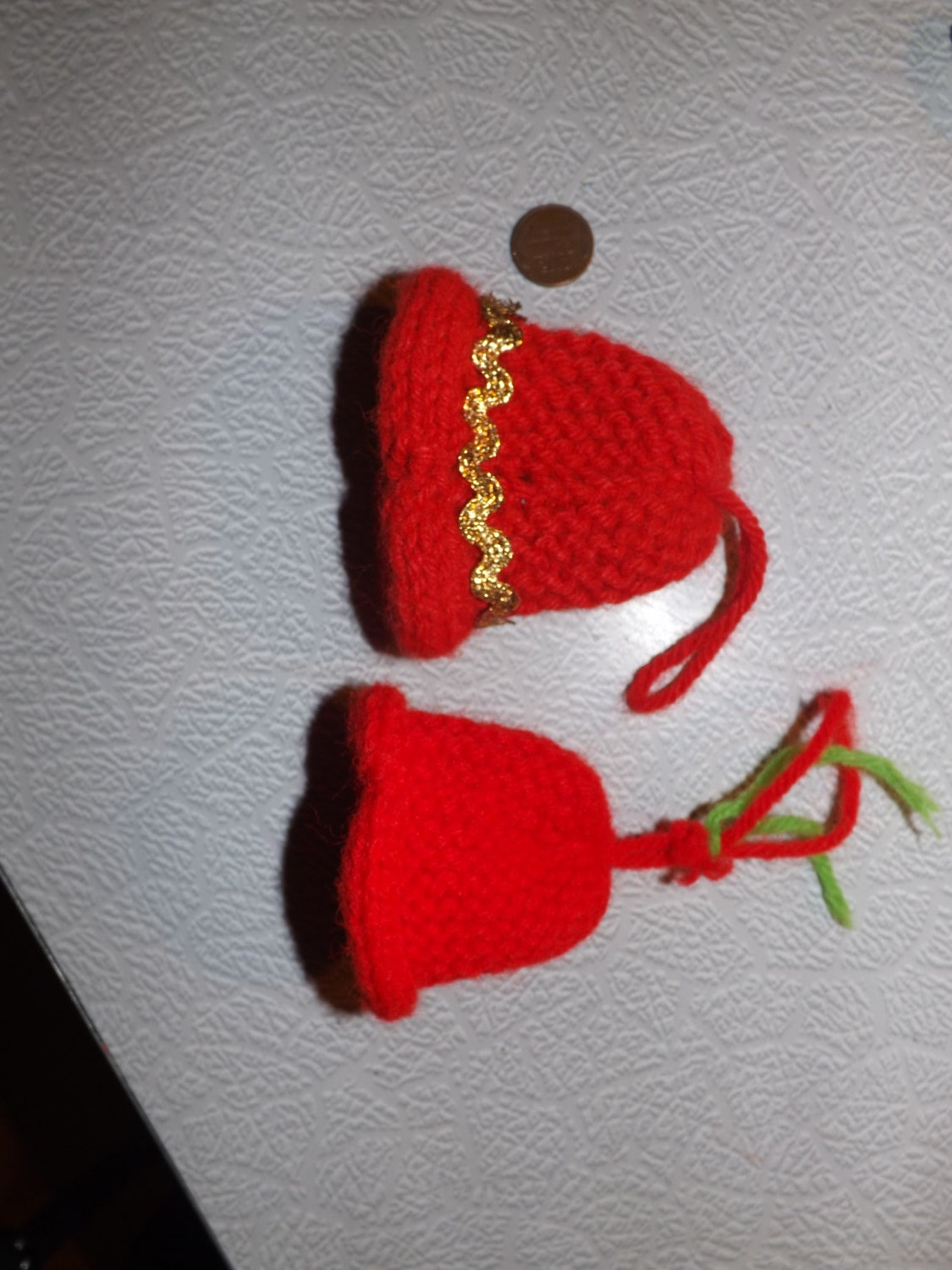 Two vintage knit christmas bell ornaments by tackyuglyawesome for Knitted christmas bells