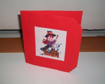 Embroidered greetings card