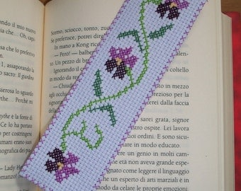 embroidered cross stitch bookmark