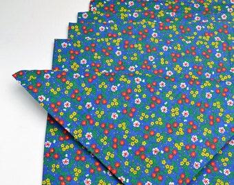 Napkins Floral Design on Blue Cotton Set of 6