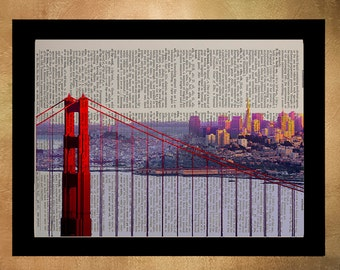 San Francisco Golden Gate Bridge Dictionary Art Print, Bay Ca California Architecture Upcycled Wall Art da560