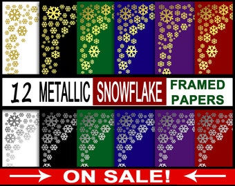 FREE Snowflake Digital Papers - Metallic Gold Foil Free Paper Set - Digi Download Winter Snowflakes for Scrapbooking SALE Pay It Forward PIF