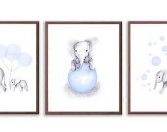 Elephant Nursery Decor, Baby Boy Nursery Art, Set Of Three Elephant Prints, Blue and Gray Nursery, Baby Boy Art Prints - S021W