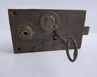 vintage french door lock and key