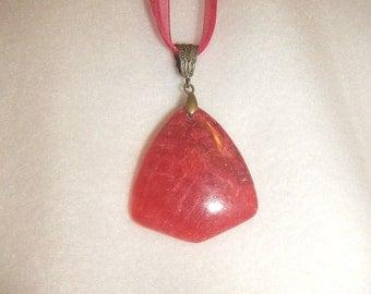 Arrowhead-shaped Rose Pink Rhodochrosite pendant (JO261)