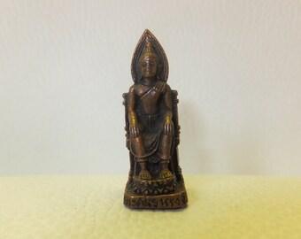 Buddha in Throne Miniature Bronze/Copper, Vintage
