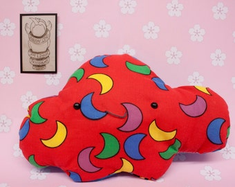 Kawaii Collectable Plush Pillow with Crescent Moon and Frog Design