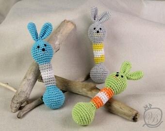 Crochet bunny Crochet baby rattle Easter gift Amigurumi Eco friendly Rattle Baby Shower Gift Rabbit gift Crochet Bunny