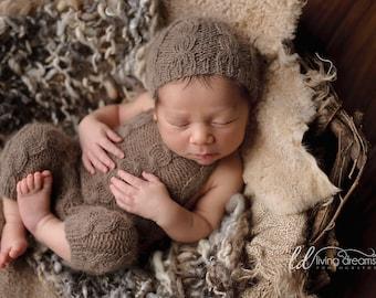 overalls & beanie set - newborn photo prop - luxury angora - brown color