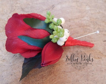Gents Boutonniere,  Red Rose Buttonhole, Mens Wedding Boutonniere, Rose and Snowberries