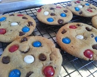 Patriotic USA 4th of July M&M chocolate chip cookies 1 Dozen Gourmet