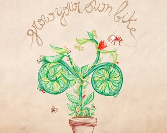 Grow your own bike /// Square print