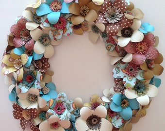 Wreath of Paper Flowers, Great for Wedding, Easter, Mother's Day, Spring and Summer.