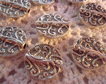 16 Big, Beautiful, Antique Silver Vine Spacers 13x3.5mm Ornate, Round, Double Sided, 3D Textured Flat Spacer.  ~USPS Ship Rates /OR
