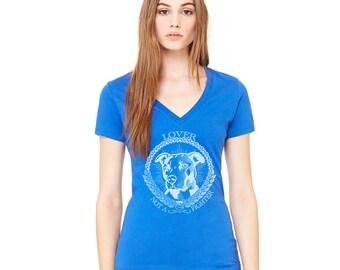 Pit Bull Deep V-Neck T-Shirt - Lover Not A Fighter