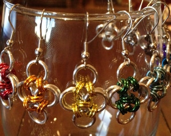 Japanese Cross Chainmaille Earrings, Anodized Aluminum