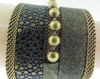 Cynthia Desser design mixed exotic wide cuff bracelet.