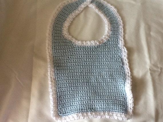 Crochet Cotton Baby Bib Pattern : Cotton crochet baby bib baby blue baby bib Cotton baby bib