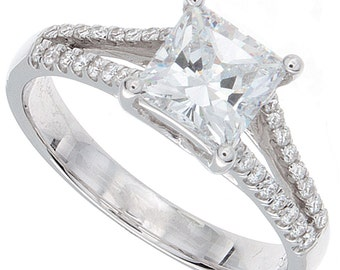 1.24ct Princess Cut Diamond Engagement Ring