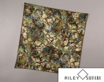 Nature Inspired Pocket Square in rich shades of Brown and Green, Casual Pocket Square, Handkerchief, Fashion Accessories