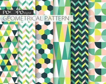 spring digital paper geometric pattern green lime green pink fresh geometry yellow easter scrapbooking colorful honeycomb triangle original