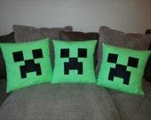 Minecraft Creeper Cushion Cover. Handmade. Bedding. Pillow.