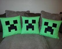 Handmade inspired Minecraft  Creeper face Cushion Cover.