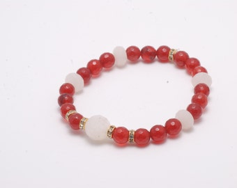 Red Garnet and White quartz Stretch Bracelet New