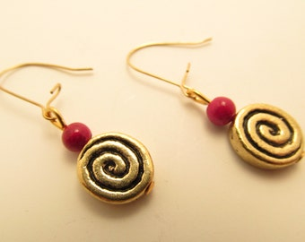 3886  -  Spiral and Bambou Coral Earrings