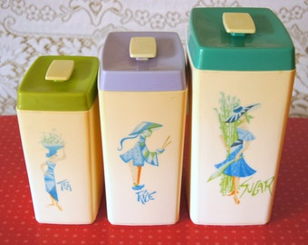 Vintage Kitsch Nylex Canisters - Nesting Set of 3: Rice, Sugar, Tea (50's Retro Kitchen Collectible)