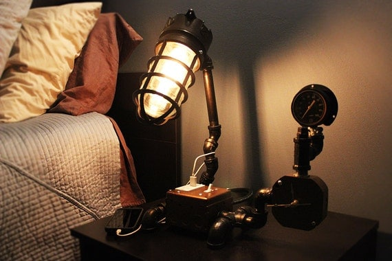 Gas Pipe Table Lamp With Usb Charger Dimmer Switch And