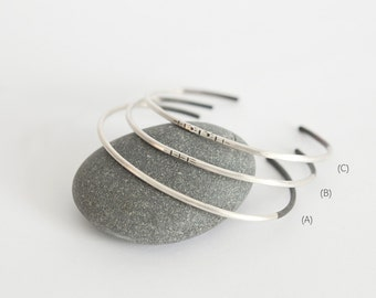 Simple tribal silver cuff bracelets, with 3 different oxidised patterns to choose from (sold individually)