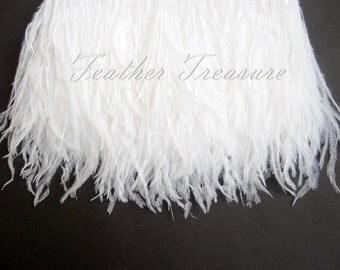 1-Ply White Ostrich Trim, White Ostrich Feather Trim, White Ostrich Feathers,White Craft Feathers, Bridal, Wedding, Costume Embellishment