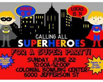 SuperHero Printable Invitation - SuperHero birthday