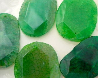Thick Faceted Agate Slice Pendant, Deep Green Agate Slice, Large Agate Slice, Agate Geode Slice Pendant, Stone Pendant, Large